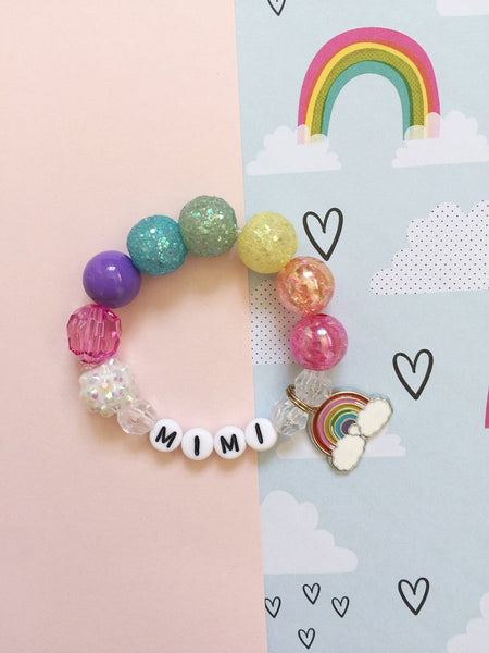 Mini Rainbow Charm Bracelet - Personalized