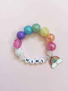 rainbow charm bracelet, personalized bracelet, beaded bracelet, custom name, rainbow