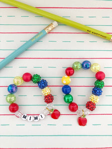Back to school personalized bracelet for kids by The Rainbow Mermaid