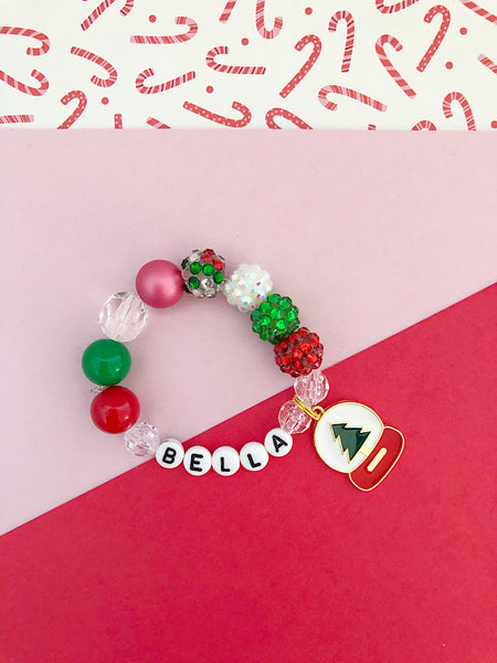 Pine Tree Snow Globe Bracelet- Customizable