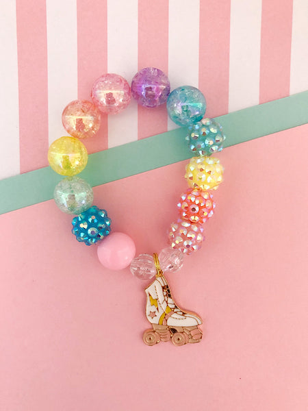 Rainbow Roller Skate Charm Bracelet - Customizable