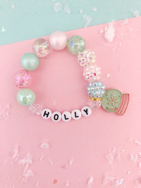Frozen Snow Globe Charm Bracelet- Customizable