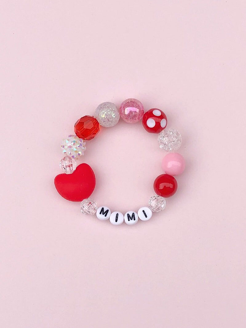 Red Heart Bracelet - Personalized