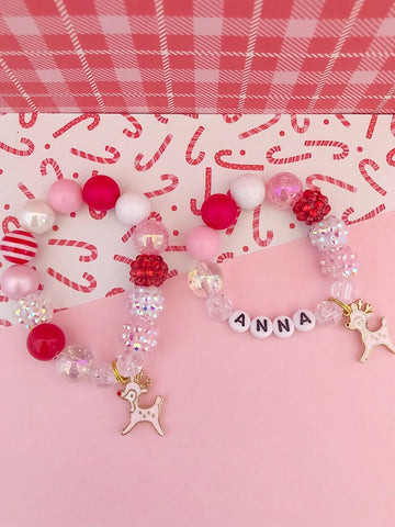Pink Deer Charm Bracelet - Customizable