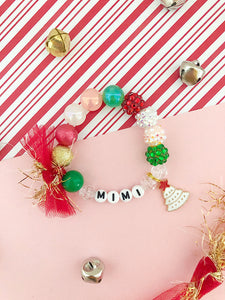 Retro Christmas Tree Charm Bracelet - Customizable