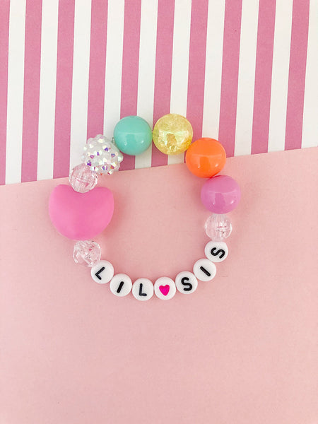 Big Sis OR Lil Sis Rainbow Heart Charm Bracelet