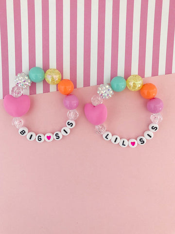 Big Sis AND Lil Sis Rainbow Heart Charm Bracelet - Set of 2