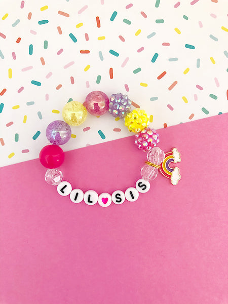 Big Sis OR Lil Sis Bright Rainbow Charm Bracelet