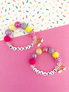 Big Sis AND Lil Sis Bright Rainbow Charm Bracelet - Set of 2