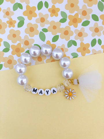 Daisy Flower Girl Charm Bracelet - Customizable