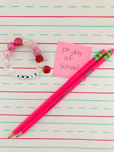Back to School - Apple Charm Bracelet (pinks)- Customizable