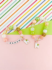 Happy Llama Charm Bracelet - Customizable