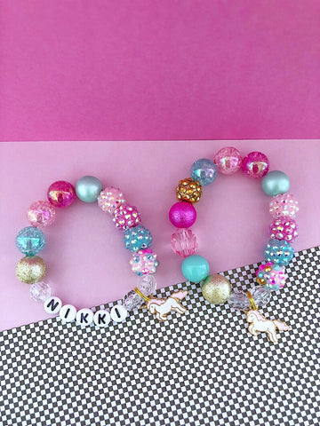 Confetti Unicorn Charm Bracelet - Customizable