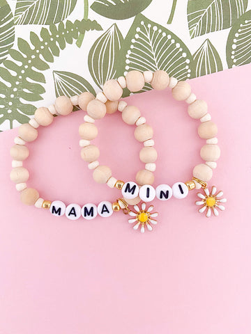Mama and Mini Sweet + Simple Daisy Bracelet (Set of 2, with option to add more)