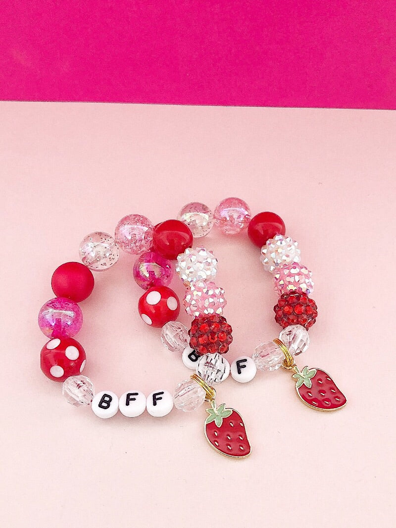 BFF Bracelets with Strawberry Charm - Set of 2