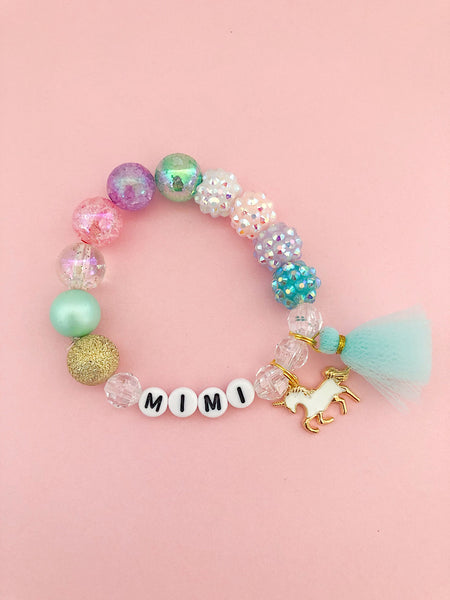 Unicorn Charm Bracelet with Tulle Tassel - Personalized