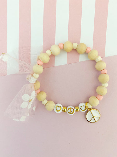 Sweet + Simple Love, Peace and Happiness Charm Bracelet