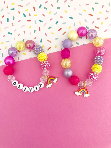 Bright Rainbow Charm Bracelet - Customizable