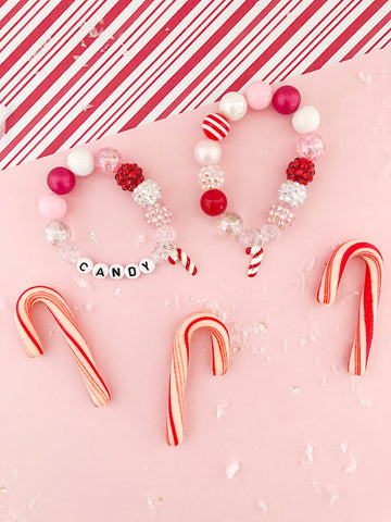 Sweet Candy Cane Charm Bracelet - Customizable