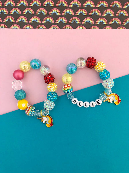 Rainbows and Unicorns Charm Bracelet - Customizable