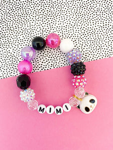 Panda Bracelet (Pink, Purple and Black) - Customizable