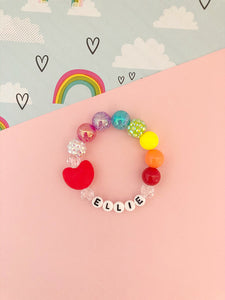 Rainbow Red Heart Bracelet - Personalized