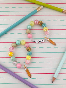 Back to School - Pencil Charm Bracelet - Customizable