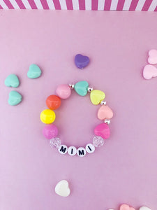 Candy Colored Hearts Bracelet - Customizable