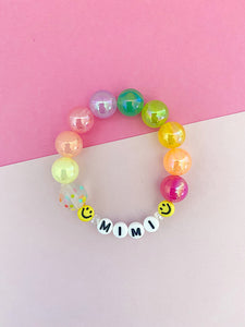 Smiley Face Rainbow Bracelet - Customizable