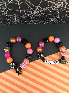 Halloween Black Cat Charm Bracelet - Customizable
