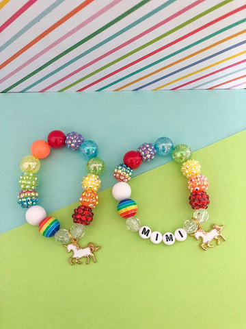 Rainbow Unicorn Charm Bracelet - Customizable