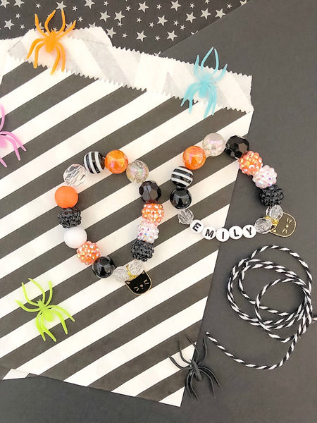 Halloween Cat Charm Bracelet - Customizable
