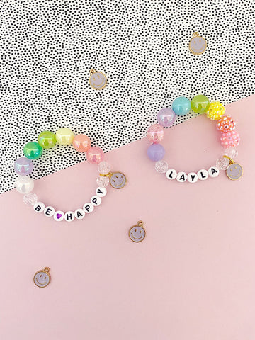 Be Happy Charm Bracelet- Customizable