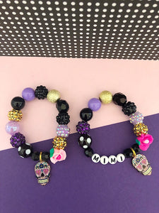 Halloween Sugar Skull Charm Bracelet - Customizable