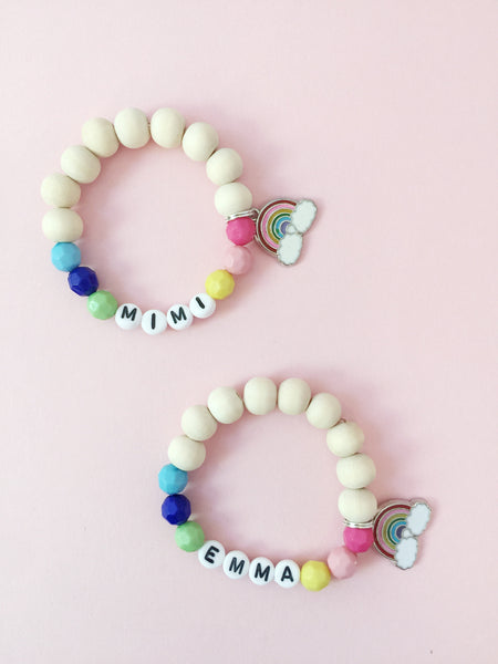 Rainbow Personalized Charm Bracelet
