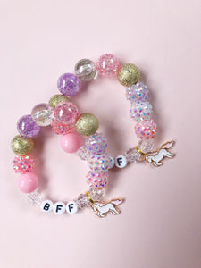 BFF Bracelets with Unicorn Charm - Set of 2