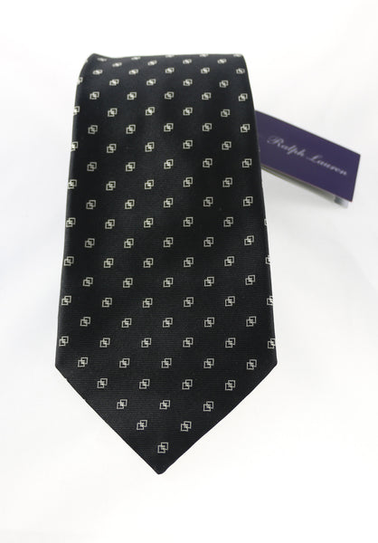 Ralph Lauren Purple Label Black Geometric Silk Tie