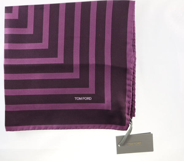 Tom Ford Purple Stripes With Purple Edge Pocket Square