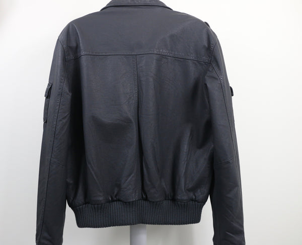 Barney's Originals Grey Leather Bomber Jacket