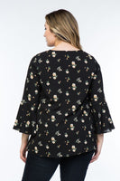 Plus Size bell sleeve black with floral print