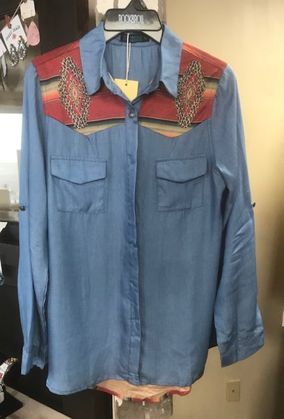 Women's chambray shirt with serape leopard back & yoke details