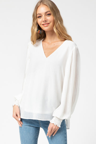 women's white vneck blouse