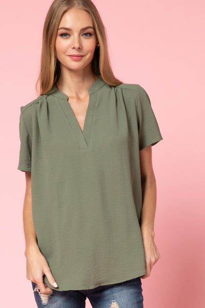 women's vneck cap sleeve blouse - olive or lavender