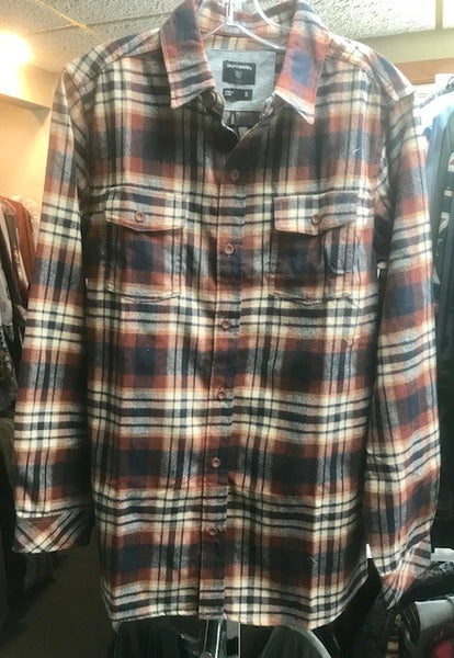 Men's flannel shirt, Rust & Navy