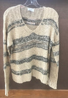 tan & black, v neck, loose knit sweater