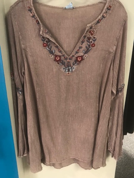 brown v neck with embroidery detail blouse