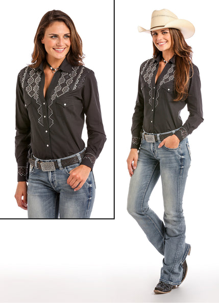 Women's Black shirt with Aztec Embroidered detail