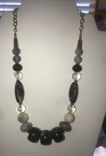 black, grey beaded necklace and earring set