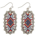 oblong silver metal & rhinestone earrings with tribal print design