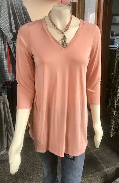 3/4 sleeve pink top/tunic